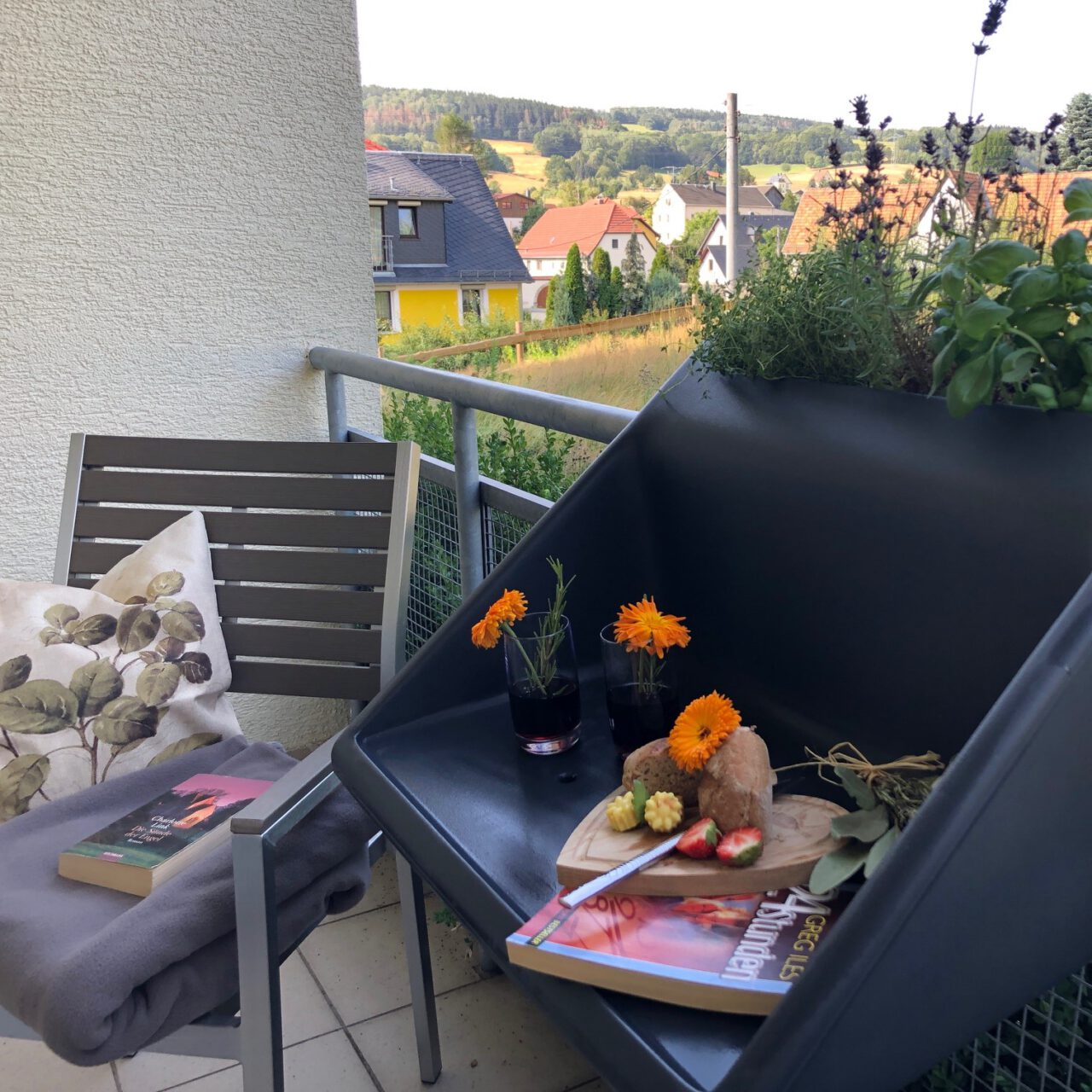Unsere Zimmer mit Balkon - Blick ins Grüne