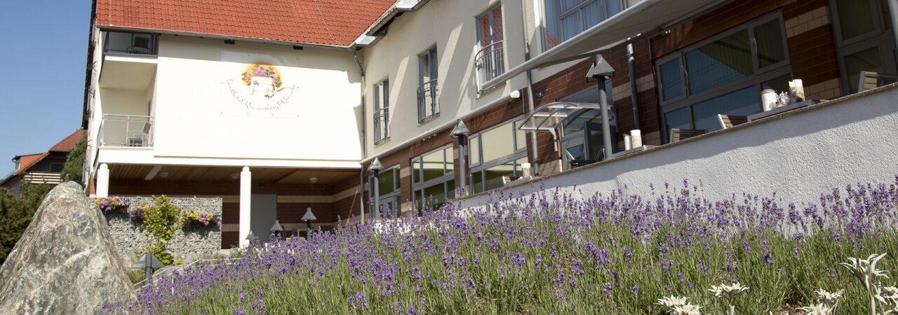 Lavendel vor Frühstücksterrasse